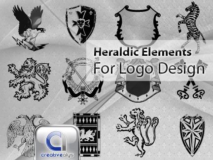 Vector heraldic elements for logo design