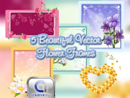 5 Beautiful Flower Frames in Vector