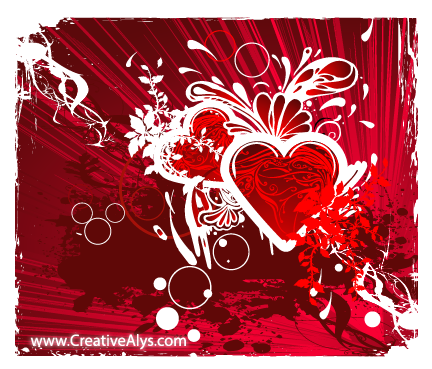 Creative Grungy Heart Background Design
